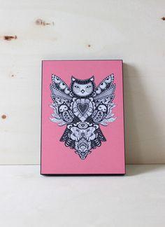 """Wanddeko - """"Graphic owl"""" MDF PosterBlock Kunstdruck - ein Designerstück von ByLudorn bei DaWanda"""
