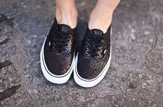 625df7d267 Glittering VANS. Black Vans ShoesVans SneakersVans AuthenticGlitter ...