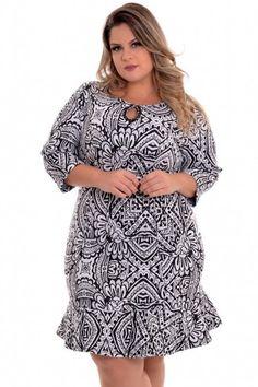Vestido Plus Size Jacquard Print