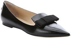 Jimmy Choo black stripe embossed leather 'Gala' bow ballet flats