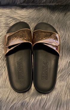 NWOT NEVER WORN ROSE GOLD SZ M Pink Sandals, Women's Shoes Sandals, Heels, Vs Pink Slides, Welcome To My House, Acrylic Nails, Rose Gold, Pretty, Fashion
