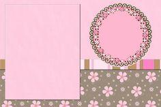Flores e Listras Marrom e Rosa – Kit Completo com molduras para convites, rótulos para guloseimas, lembrancinhas e imagens!  Fazendo a Nossa Festa