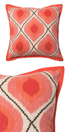 Isn't it time for a pop of color? This 100% cotton pillow features a cheerful coral and pink ikat print. Made in India. Dry clean only.  Find the Poppy Pillow, as seen in the Vibrant Mid-Century Modernism Collection at http://dotandbo.com/collections/vibrant-mid-century-modernism?utm_source=pinterest&utm_medium=organic&db_sku=121026