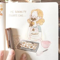 "Yesterday's #doodletimewithkaroline :) it's me, baking my favorite cake ""Russian chocolate cheesecake"" *_* #illustration #illustrator #art #artist #artistsoninstagram #drawing #design #sketch #sketchbook #watercolor #comic #characterdesign #copic #touch #touchmarkers #copicmarkers #freelancedesigner #freelanceillustrator #illustrationage"