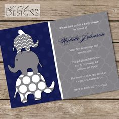 Stacked Navy and Gray Elephants Baby Shower by LOlsonDesigns