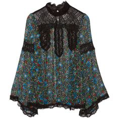 Anna Sui Lace-paneled printed silk-chiffon blouse ($485) ❤ liked on Polyvore featuring tops, blouses, black, blue blouse, lace trim blouse, colorful blouses, black boho top and silk chiffon blouse