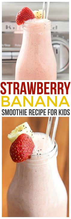 This strawberry banana smoothie with yogurt is a fun smoothie recipe for kids. Make this for your Mini Chef on Mini Chef Mondays or even let them make it themselves! via @CourtneysSweets