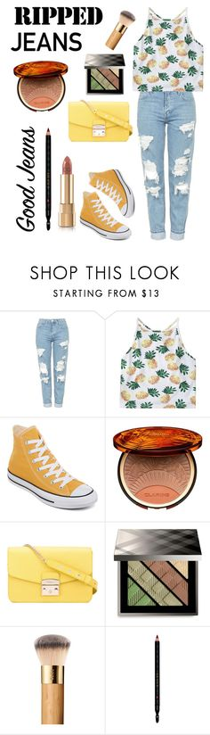 """""""Pinapple, ripped jeans shake it all up!"""" by av-leigh ❤ liked on Polyvore featuring Topshop, Converse, Clarins, Furla, Burberry and Gucci"""