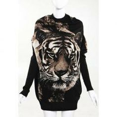 $7.86 Casual Style Scoop Neck Tiger Printed Batwing Sleeve Knitting Cardigans For Women