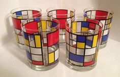 5 Georges Briard Piet Mondrian Double Old Fashioned Glasses Barware Signed Set