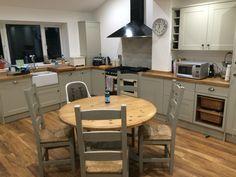 Our Kitchen so far - grey - solid oak - family - Howden's Burford Grey - Belfast sink