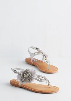 Flat's the Spirit! Sandal in Silver - Flat, Faux Leather, Mixed Media, Silver, Solid, Beads, Flower, Wedding, Casual, Bridesmaid, Bride, Luxe, Better, Slingback, Variation, Rhinestones