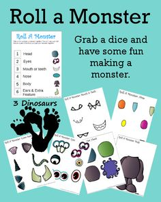 Can't even begin to say how much I love this free Roll A Monster Printable - 3Dinosaurs.com