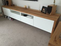 I hacked a BESTÅ TV Unit with Oak wrap around. The process was quite straightforward, cutting the wood to length correctly to make long TV unit Tv Unit Decor, Tv Wall Decor, Tv Furniture, Furniture Design, Furniture Movers, Furniture Vintage, Office Furniture, Hack Sala, Sala Ikea