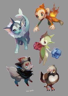 Chimchar, Vaporeon, Roselia, Zorua, and Pidove