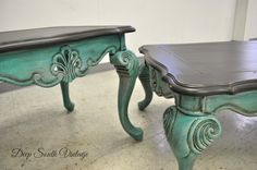 Incredible vintage coffee table with matching end table.  Re-finished by Deep South Vintage.  Painted in Miss Lillian's No Wax Chalk Paint. See more unique pieces at www.facebook.com/deepsouthrecreations.