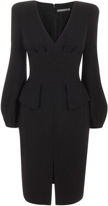 Black Bell Sleeve Crepe Pencil Dress