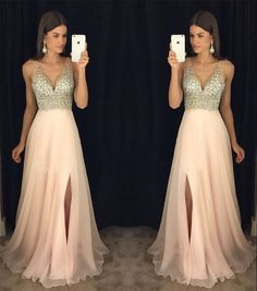 Simple Wedding Dress, New Arrival Prom Dress,Modest Prom Dress,sparkly Crystal Beaded V Neck Open Back Long Chiffon Prom Dresses 2017 Pageant Evening Gowns With Leg Slit AilsaBridal Sparkly Prom Dresses, V Neck Prom Dresses, Prom Dresses 2017, Grad Dresses, Modest Dresses, Dance Dresses, Pretty Dresses, Dress Outfits, Bridesmaid Dresses