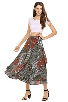 2140c76571 Women's Boho Floral Print High Waist Summer Beach Wrap Maxi Skirt Cover Up  Casual Skirts,