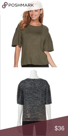 Apt. 9 Glitter Elbow Sleeve Tee Olive New Add some shine to your look to your wardrobe with this women's Apt. 9 elbow sleeve tee.  PRODUCT FEATURES 	•	Glitter design 	•	Crewneck 	•	Elbow sleeves  FABRIC & CARE 	•	Rayon, spandex 	•	Machine wash 	•	Imported  Color is Olive as shown in first photo.  New with tags. Apt. 9 Tops Tees - Short Sleeve
