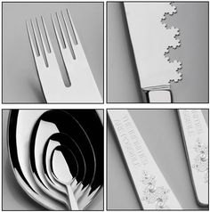 Fractal Utensils by LhogoNurb: Concept design. The set includes four pieces:  Cantor fork :: now you can pin a single kiwi seed. Twice in a row.  Recursive spoon :: it will never let you spill a drop of soup. Ever.  Koch knife :: to delicately cut hair-thin slices out of an egg. #Flatware #Fractal_Utensils #LhogoNurb