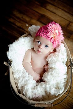 Baby Portrait in Basket with Flower Hat