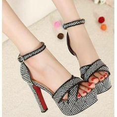 #Woven cross-belt high-heeled chunky platform sandals