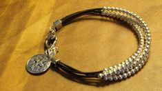 Silver Beaded Leather Layers Bracelet Western by fleurdesignz