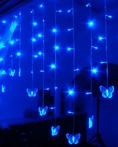 100-Light Blue Butterfly Acrylic LED String Light(^o^)-YES! $35.96