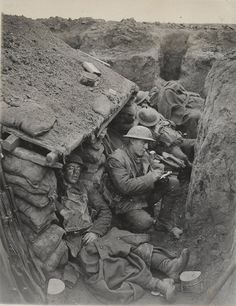 First world war -- Canadian soldiers in trenches.  My father fought in the second World War - where they also dug trenches.  War is hell.