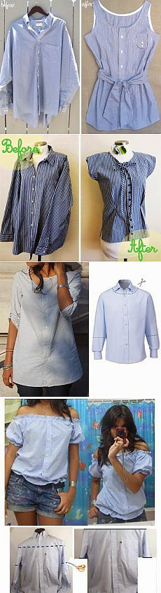 Simple ways to create summer dresses out of old shirts Fashion Sewing, Diy Fashion, Diy Clothes Refashion, Old Shirts, Diy Shirt, Diy Tank, Dress Out, Clothing Hacks, Summer Shirts