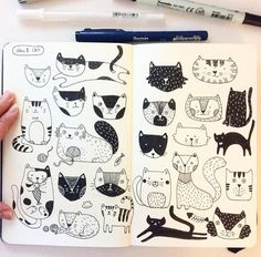 Drawing Doodles Sketchbooks Day Cat I'm a day behind. It's my first time to draw cats. I was nervous to draw in the beginning but became fun! Ink Pen Drawings, Doodle Drawings, Animal Drawings, Doodle Art, Cat Drawing, Drawing Sketches, Animal Doodles, Arte Sketchbook, Sketchbook Inspiration