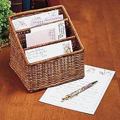 Wicker letter holder from Miles Kimball has three compartments for incoming and outgoing mail and supplies.