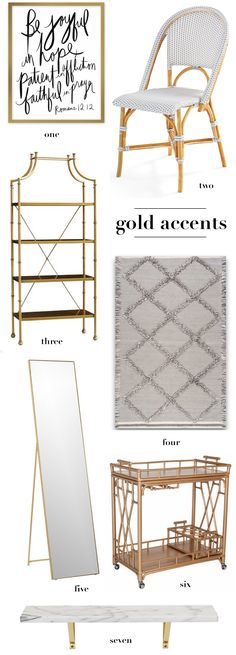 Home Accents. Gold Home Accents. Apartment Decor. Home Decor. Gold Bar Cart. Gold Frame. Selena and Lilly Chair.