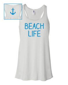 Beach Life flowy tank, summer anchor top, nautical shirt, swimsuit coverup, cover up on Etsy, $23.00