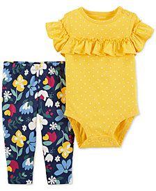 d8bc70cee4d2 Carter s Baby Girls 2-Pc. Cotton Bodysuit   Floral-Print Pants Set  ad   affiliate