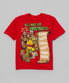 Red TMNT 'All I Want for Christmas is Pizza' Tee - Boys | Daily deals for moms, babies and kids