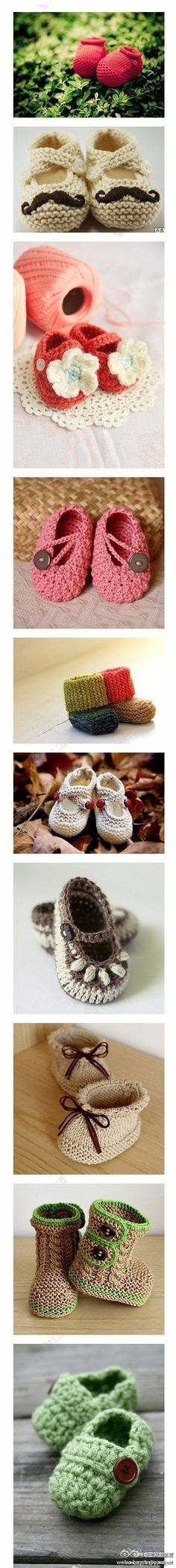 Soooo cute!! crotchet baby shoes ... would love to know the source for each of them ... any idea ?