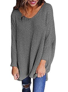 6a953317384c5 LHAYY Women Oversized Knitted Sweater Long Sleeve V-Neck Loose Top Jumper  Pullovers Plus Size