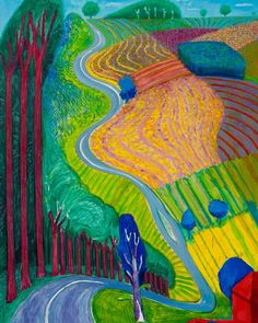 Going Up Garrowby Hill, United States, 2000, by David Hockney.
