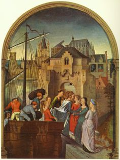 St. Ursula and her companions landing at Cologne, from the Reliquary of St. Ursula by @artistmemling #northernrenaissance