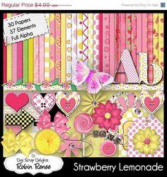 Digital Scrapbooking: Strawberry Lemonade DIgital Kit (Pink and Yellow) Buy 2 Items Get 1 Free Special