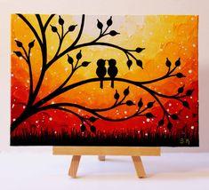 Sunset Painting Love birds Artwork Original Mini Painting