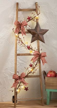 """Rustic Lighted Country Ladder w/ Berries, Barn Star & Gingham Bows Decor 36""""H"""