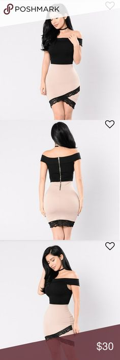 Off shoulder bodycon dress I absolutely adore this dress but I'm ordering another one a size down because it feels a little looser than I'd like! Really good quality material, not super thin like some bodycon dresses. Fashion Nova Dresses Mini