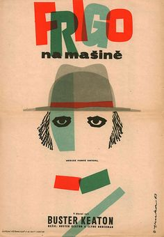 1963 Czech poster for The General (Buster Keaton & Clyde Bruckman, USA, 1926); designer: Vladimír Fuka (1926-1977)...