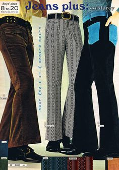 Corduroy Bell-Bottom Pants from the Montgomery Ward Catalog, 1971