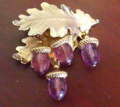 SOLD : Swarovski Crystal Brooch / / Amethyst Jewelry / / Autumn Oak leaf with acorn charms