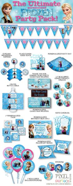 PERSONALIZED Frozen Party Pack Frozen Party by PixelPerfectShoppe