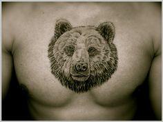 Bear Head Tattoo On Man Chest